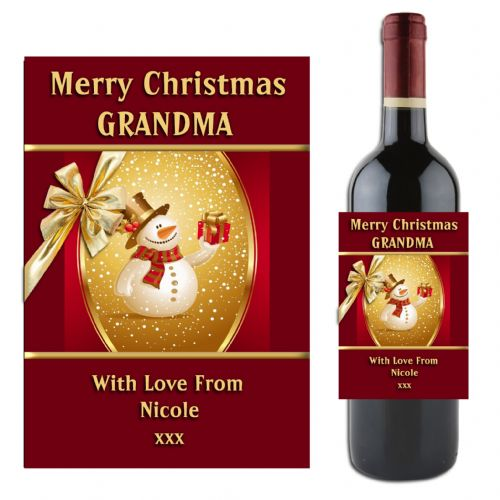 Personalised Christmas Snowman Wine Champagne Bottle Label N1